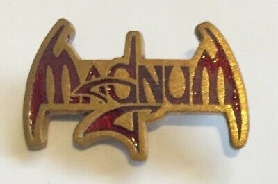 Magnum Badge Magnum Rock Band Badge Vintage Enamel On Gilt Metal • 3.85£