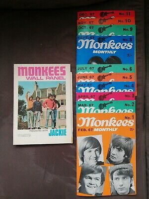 10 X Vintage Issues Of MONKEES MONTHLY MAGAZINE 1967 + Jackie Monkees Wall Panel • 10£