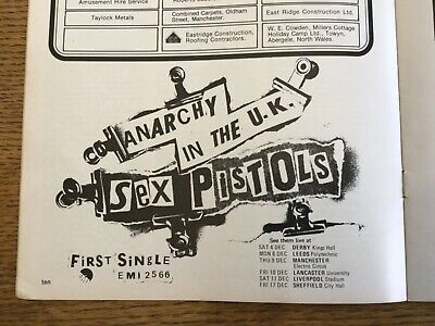 Sex Pistols - Anarchy In The UK - 1976 Manchester City Derby Football Programme • 9.99£