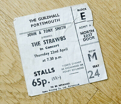 Strawbs Ticket Stub 22 April1971 The Guildhall Portsmouth. • 19.99£