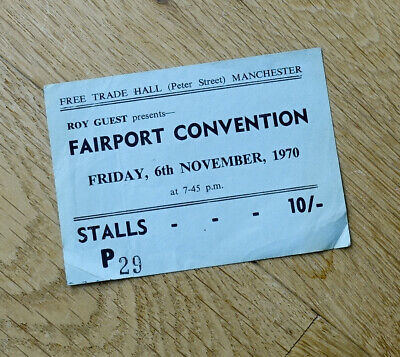 Fairport Convention Ticket Stub 1970 Free Trade Hall Manchester • 19.99£