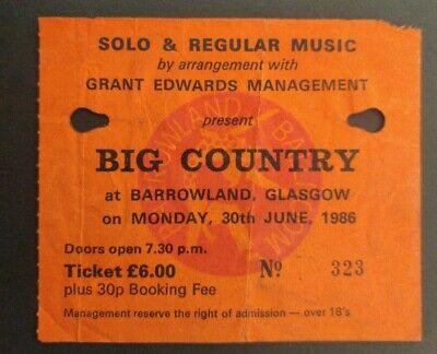 Big Country Ticket - Glasgow Barrowland1986 - The Seer Tour • 1.20£