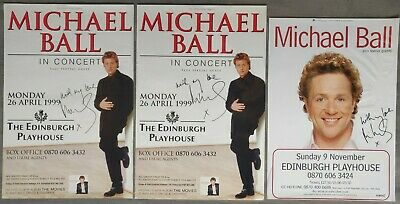 Michael Ball Signed Posters (X3) From Edinburgh Playhouse 1999 & 2003 • 25£