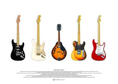 David Gilmour's Guitars ART POSTER A2 Size • 27.50£