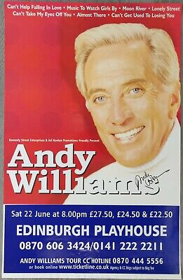 Andy Williams Signed Poster From Edinburgh Playhouse, 2002 • 20£