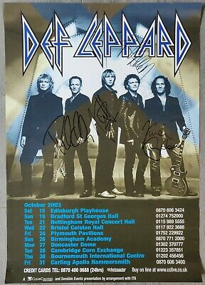 Def Leppard Signed Mini-Poster From Edinburgh, 2003 - Joe, Phil, Vivian & Rick A • 100£