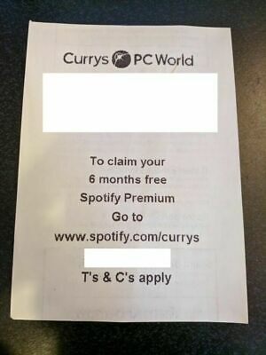 Voucher For Spotify Premium - Half-year (6 Mths) Sub (New Customers) - Currys • 7.97£