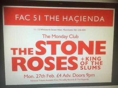 Stone Roses  Concert Gig  Poster  Hacienda 1989  A1  23 X 33 Inches.  • 15.99£