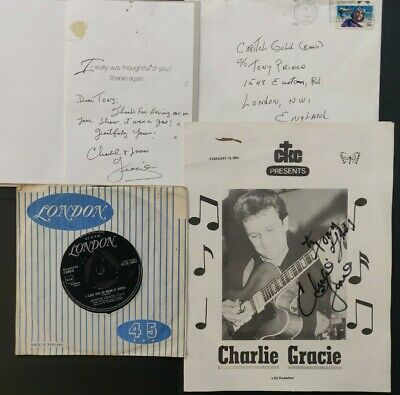 Charlie Gracie Signed Sheet & Card W/ Envelope + Vinyl - Owned By Tony Prince • 60£