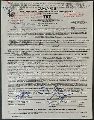 Frank Zappa Signed Concert Contract From Celebrity Theatre, Phoenix AZ, 1973 • 400£