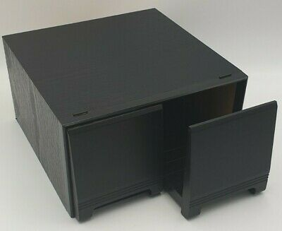 Vintage Retro Black Ash Wood Effect CD Storage Case 2 Drawer Holds 40 CDs • 16.49£