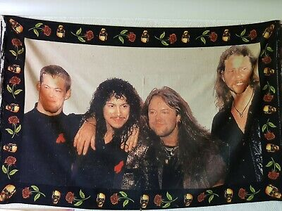 LARGE MetallicA Wall Hanging Rug 54  X 35  Rare Flag Metal • 50£