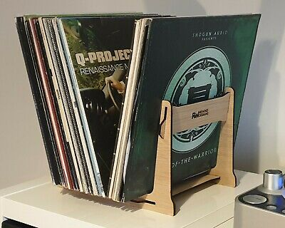Vinyl Record Storage Holder Double Ended Rack Stand, 35-60 Records, Oak Veneer • 22.99£