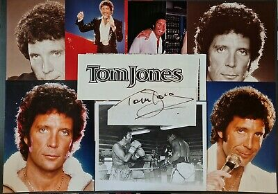 Tom Jones Signed Paper Slip + Photos (X9) • 25£