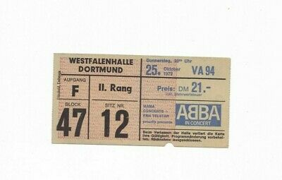 1979 Abba Concert Ticket - Live At Westalenhalle Dortmund, Germany (25-10-1979) • 99.99£