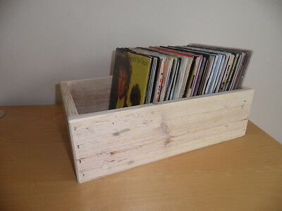 Wooden Storage Box For 7  Vinyl  Record  / Made From Reclaimed Wood / Unpainted  • 9£