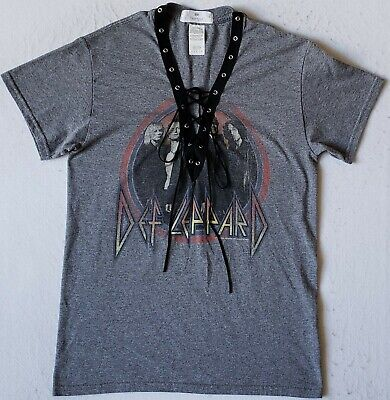DEF LEPPARD Size Small Lace Up V-Neck Gray W/Black Trim T-Shirt • 8.10£