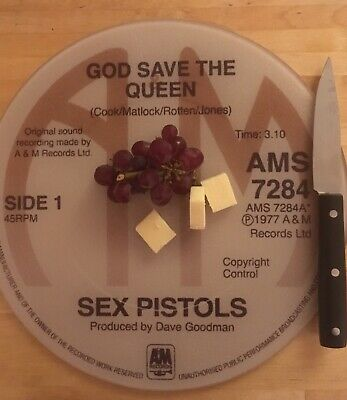 Sex Pistols God Save The Queen  A&m  Glass Chopping Board 30cm • 14.99£