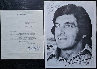 Frankie Vaughan Signed Letter On Headed Paper From 1960 + Printed Fanclub Photo • 12£