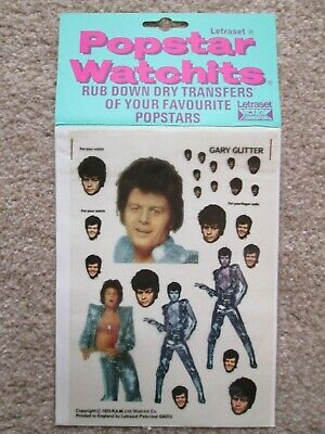 Gary Glitter 'Letraset Popstar Watchits'  Transfers NEW & MINT 1975 • 9.95£