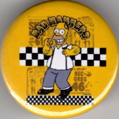 BAD MANNERS BUSTER BLOODVESSEL Pin(Button) Badge 25mm HOMER SIMPSON SCOOTER SKA  • 1.15£