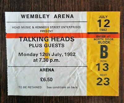 TALKING HEADS TICKET WEMBLEY ARENA 12th JULY 1982 • 3.75£