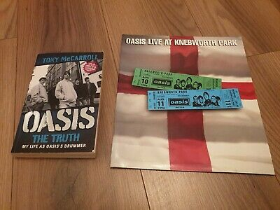 OASIS LIVE AT KNEBWORTH PARK TOUR PROGRAMME & TONY McCARROLL BOOK THE TRUTH • 10£