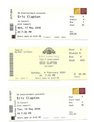Eric Clapton 11 Different Used Concert Tickets • 59.95£