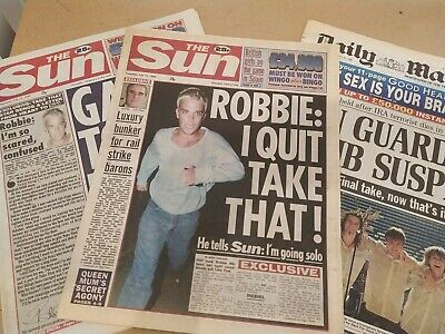 Take That & Robbie Williams Quits Newspapers The Sun Daily Job Lot X 3 95 & 96 • 1.99£