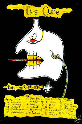 New Wave: The Cure European Tour Schedule Poster 1984    12x18 • 9.01£