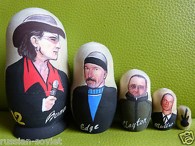 U2 Rock Group Russian Painted Doll Set Of 5 - Bono U2 Showing All Band Members • 14.99£