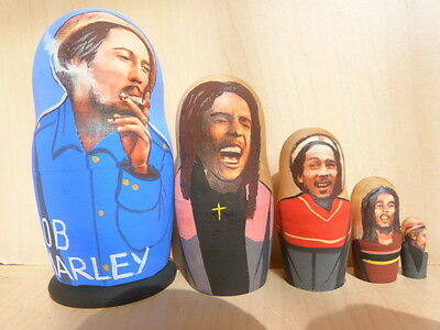 Bob Marley Russian Hand Painted Dolls Babushka Matryoshka Set Of 5  • 12.99£
