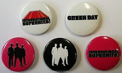 GREEN DAY: Superhits UK PROMO ONLY 5 X PIN BADGES Pack WEA Stunning OFFICIAL New • 2.95£