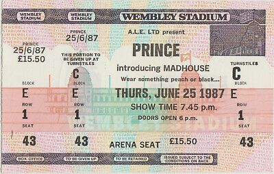 PRINCE Concert TICKET Original 1987 LONDON Wembley Stadium WITHDRAWN Cancelled ! • 50£