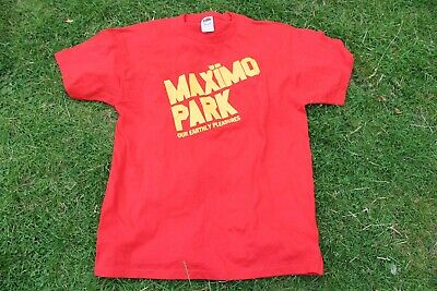 MAXIMO PARK 'Our Earthly Pleasures' Short-Sleeved T-SHIRT (Large) Rock Music RED • 14£