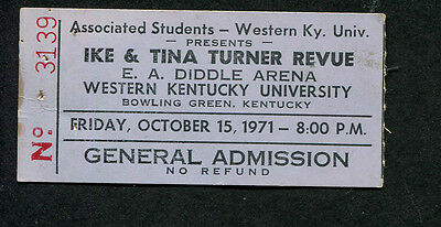 Original 1971 Ike & Tina Turner Concert Ticket Stub Bowling Green Proud Mary • 53.27£