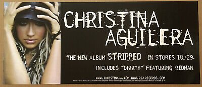 CHRISTINA AGUILERA Rare 2002 PROMO POSTER W/RELEASE DATE For Stripped CD 28x12 • 19.84£
