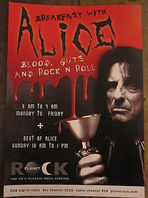 Alice Cooper Radio Show Flyer / Thin Lizzy/queensryche Uk Tour Flyer Poster 2007 • 0.99£