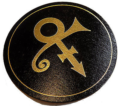 PRINCE UK Promo Gold Symbol - Leather Drinks COASTER 1996 Dinner With Delores  • 13.95£