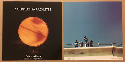 COLDPLAY Rare 2000 SET Of 2 DOUBLE SIDED PROMO POSTER FLAT Of Parachutes CD MINT • 19.95£