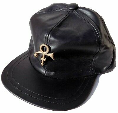 PRINCE CAP NPG Store London LEATHER With Gold METAL Symbol Official Rare Unworn • 245£