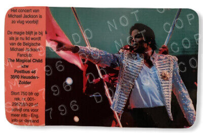 Michael Jackson History Tour Ostend Rare Promo Card Ostende Oostend Not Signed • 150£