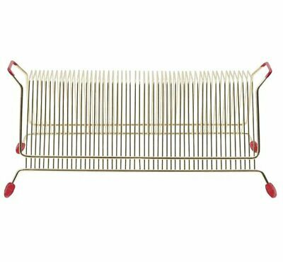 ERA Vinyl RECORD Storage RACK Metal Wire Holds 50 LPs Or Singles GOLD • 16.95£