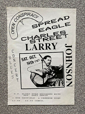 Vintage Retro Original 1989 Blues Music Larry Johnson Poster - Leicester • 3£