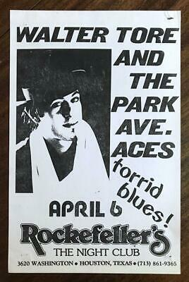 ROCKEFELLER'S Houston Walter Tore & Park Ave Aces 1980s Torrid Blues Show Flyer • 5.92£