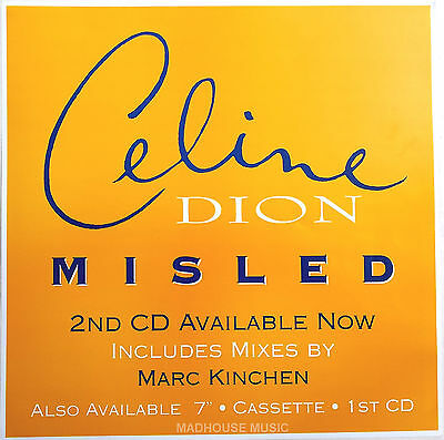CELINE DION Display Misled REMIXES Yellow UK PROMO ONLY Rare 12  X 12  Poster • 5.95£
