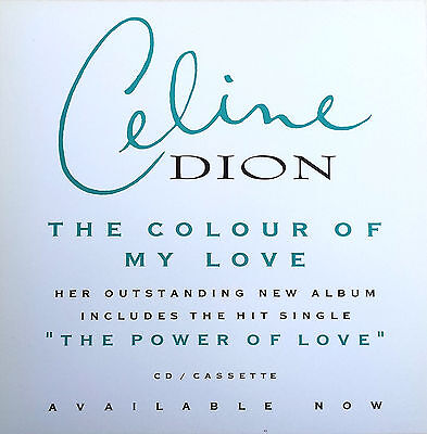 CELINE DION Display The Colour Of My Love WHITE UK PROMO Rare 12  X 12  Poster • 5.95£