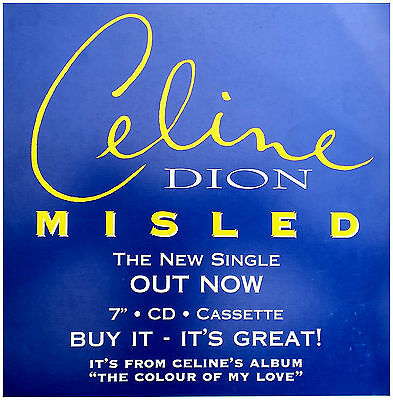 CELINE DION Display Misled BLUE Out Now UK PROMO Rare 12  X 12  Poster • 5.95£