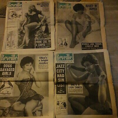 4 Reveille Newspapers  February 2nd  9th 16th 23rd 1961 Vintage Sixties Tabloid  • 13.99£