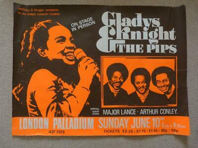 Vintage Gladys Knight And The Pips 1973 Uk Tour Poster, London Palladium • 19.99£